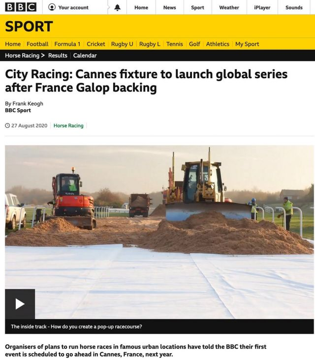📄Great piece about #CityRacing on BBC Sport website scheduled for Cannes: ➡️ https://www.bbc.co.uk/sport/horse-racing/53873626
